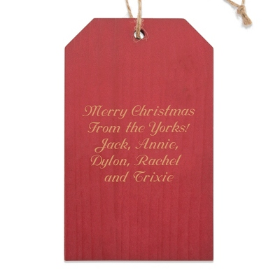 Red Gift Tag Wood Ornament