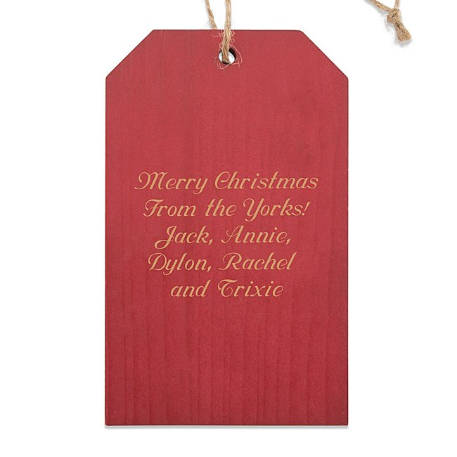 Red Gift Tag Wood Ornament...
