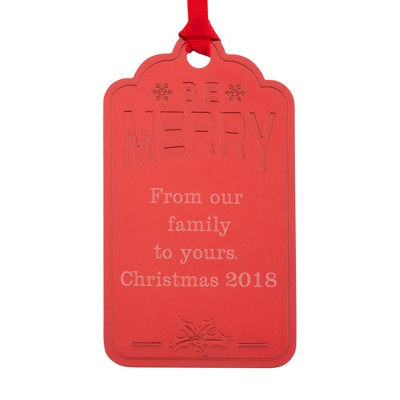 Red Be Merry Gift Tag Ornament