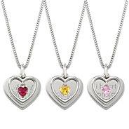 Girls Sterling Silver Heart Birthstone Swing Necklace