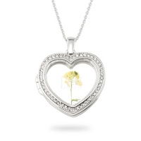 things remembered deals on Silver Pave Heart Glass Locket