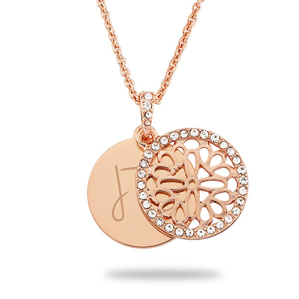 Personalized Rose Gold Stained Glass Inspired Women's Necklace