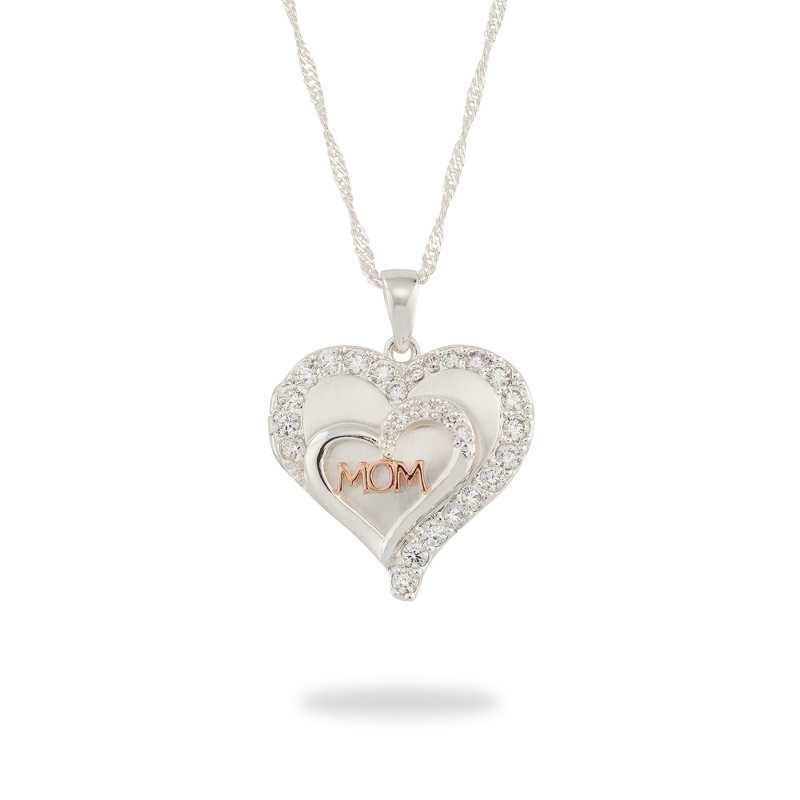 Silver and Rose Gold Tone Mom Double Heart Locket