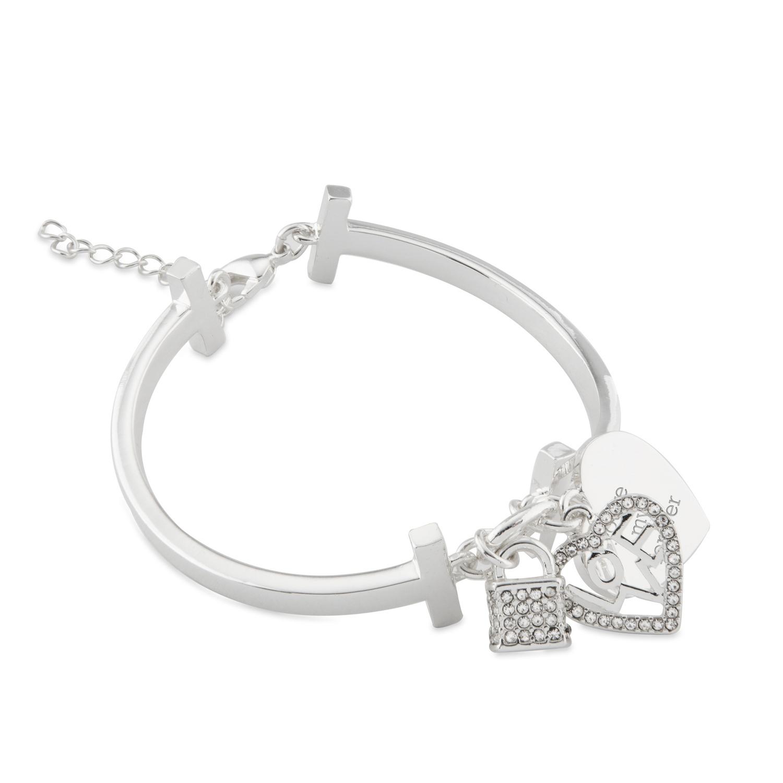 Silver Lock and Key Link Bangle Bracelet