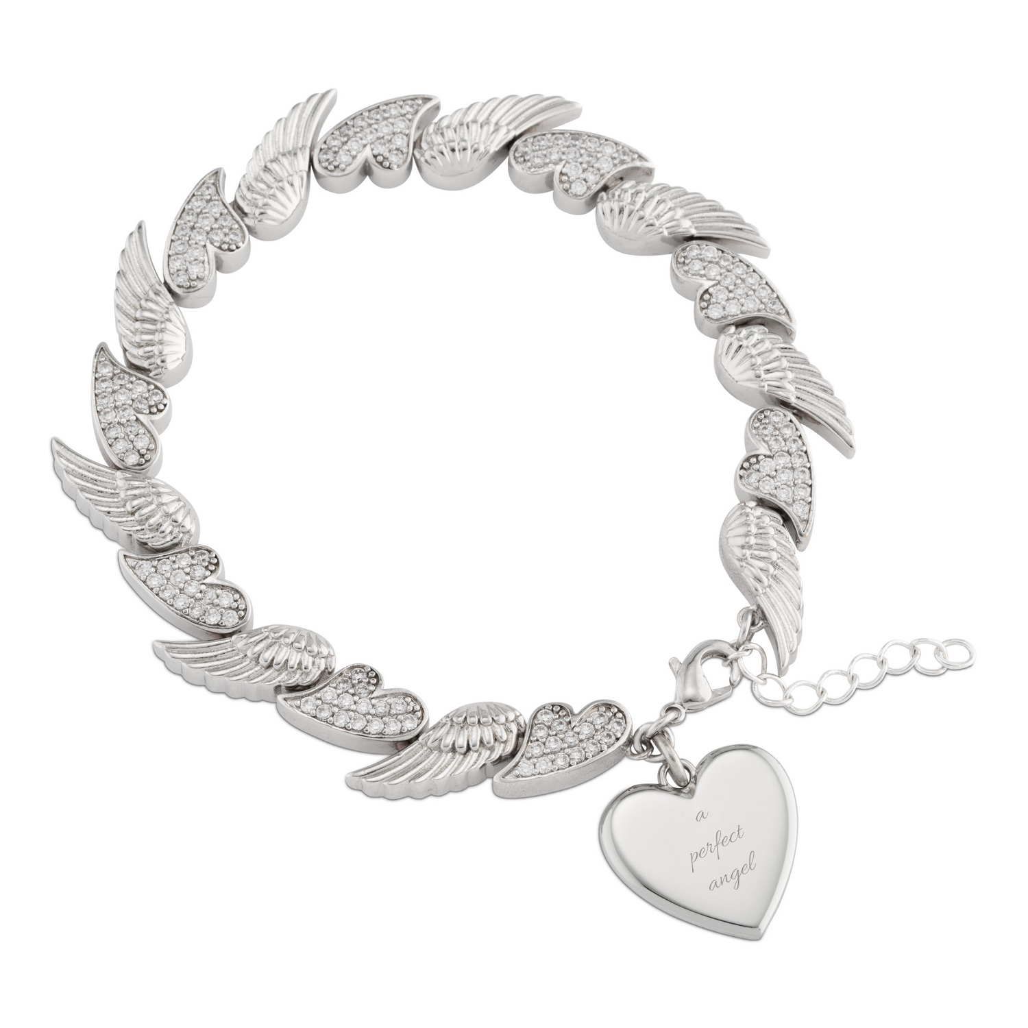 Angel Wing And Heart Charm Bracelet