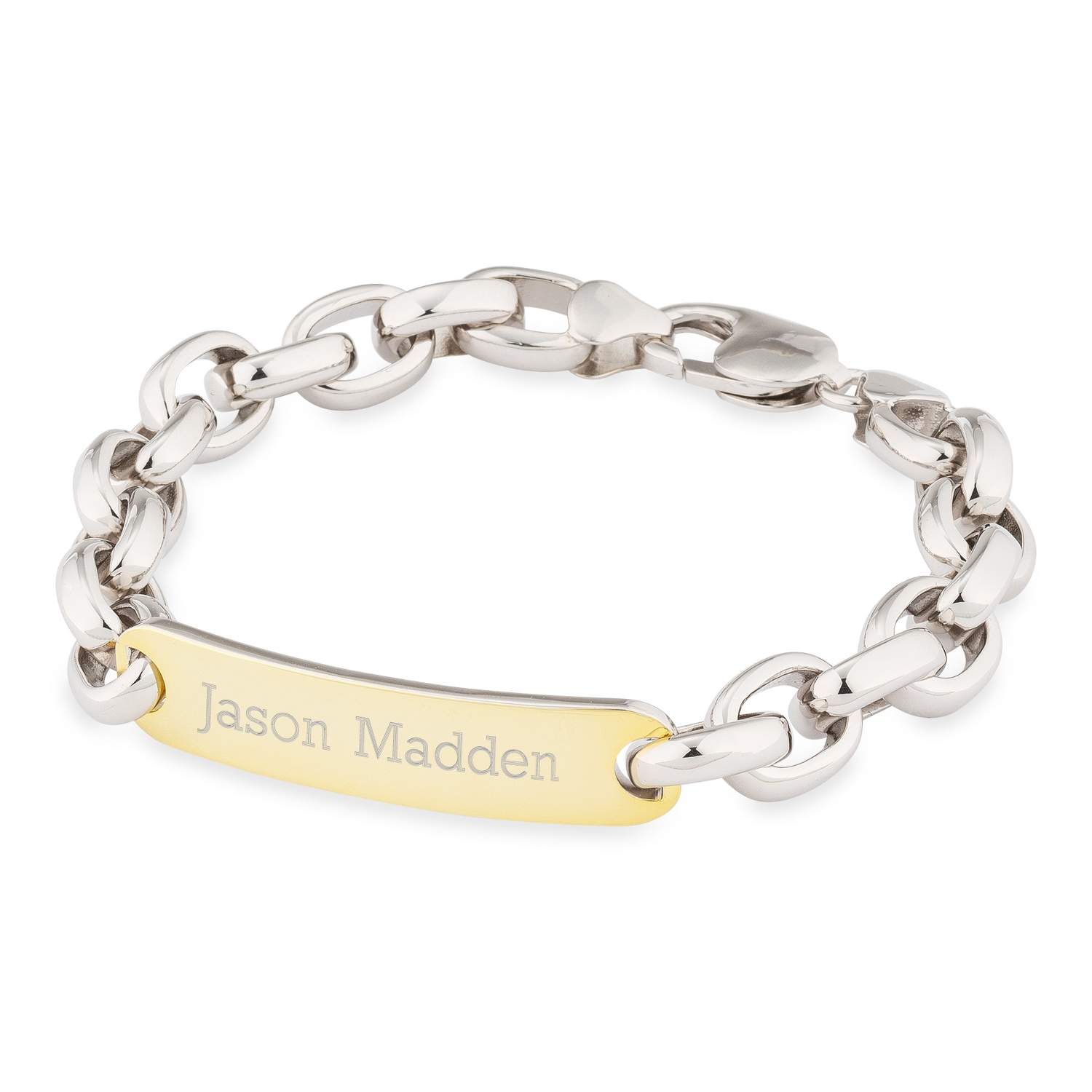 c9ffe6c2f9877 Mens Sterling Silver Link Gold Accent ID Bracelet