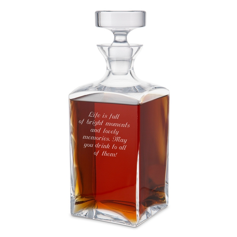 33.8 OZ Glass Square Decanter with Round Lid