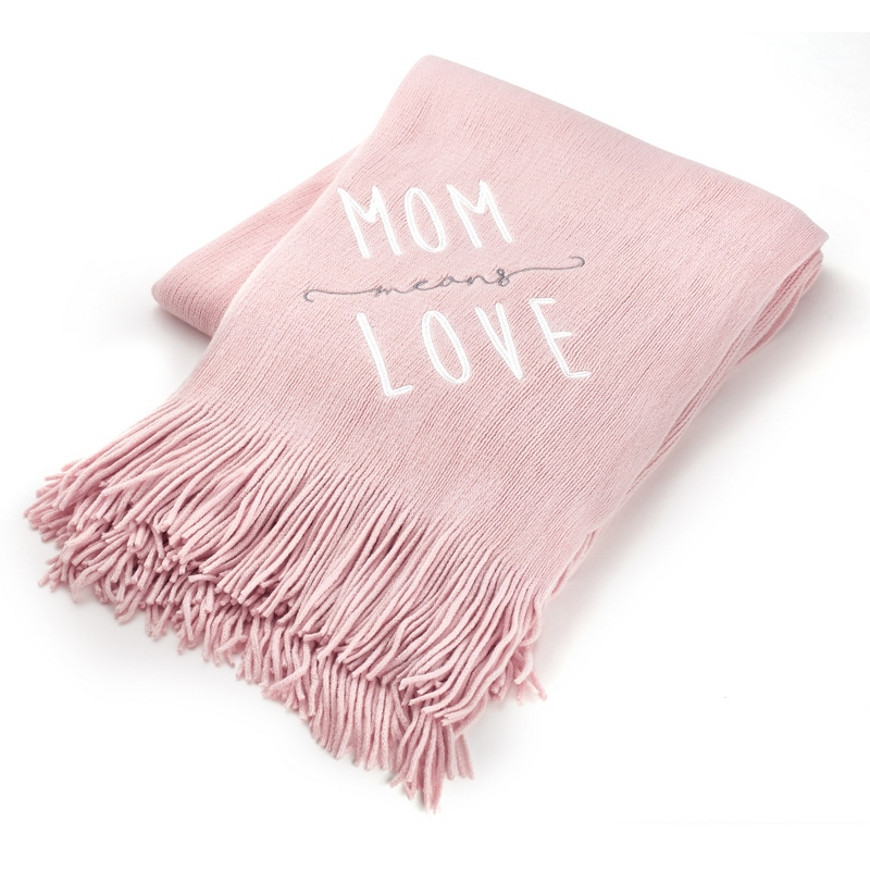 Pink Mom Love Embroidered Throw