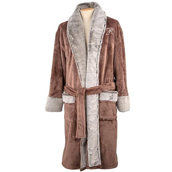 Personalized Women's Brown Faux Fur Collar Robe