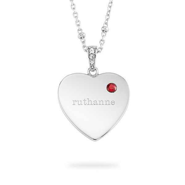 Personalized Women's Sterling Silver Birthstone Heart Necklace