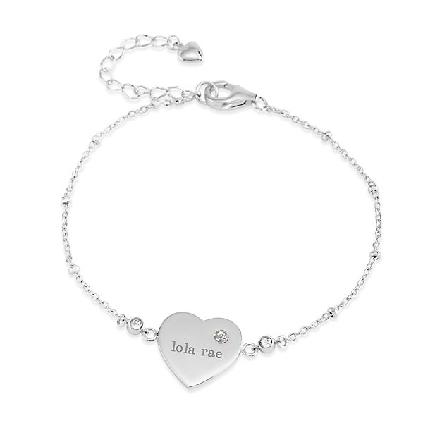 Things Remembered Sterling Silver Birthstone Heart Women's Bracelet