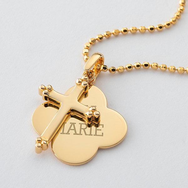 Personalized Gold Sterling Silver Cross and Quatrefoil Necklace