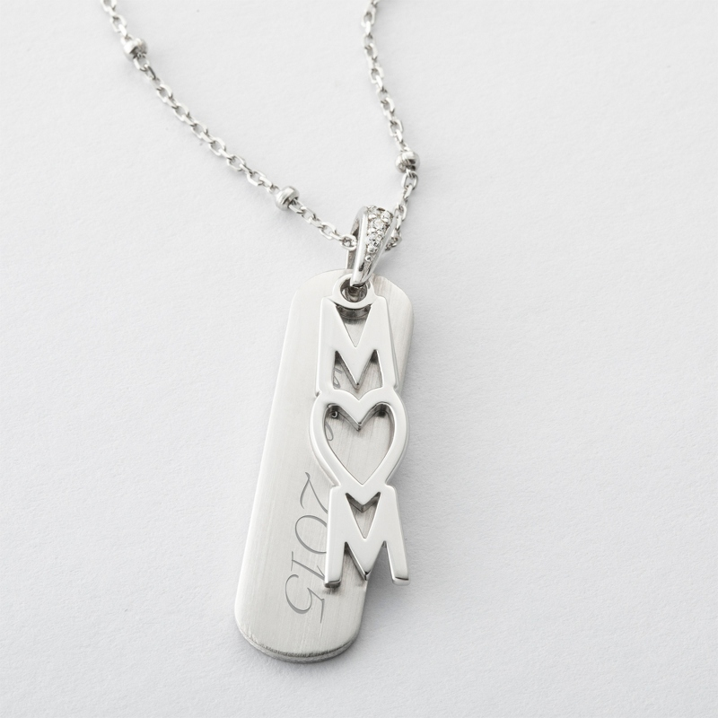 Sterling Silver Vertical MOM Heart Necklace