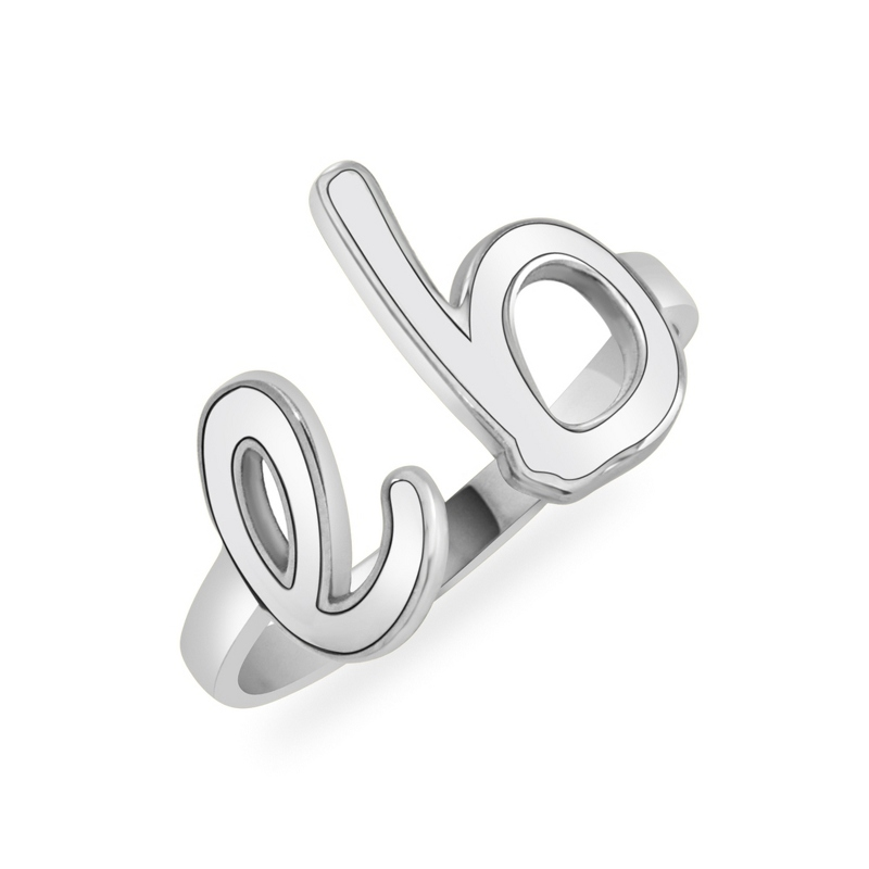 Alison and Ivy Sterling Silver 2 Initial Ring