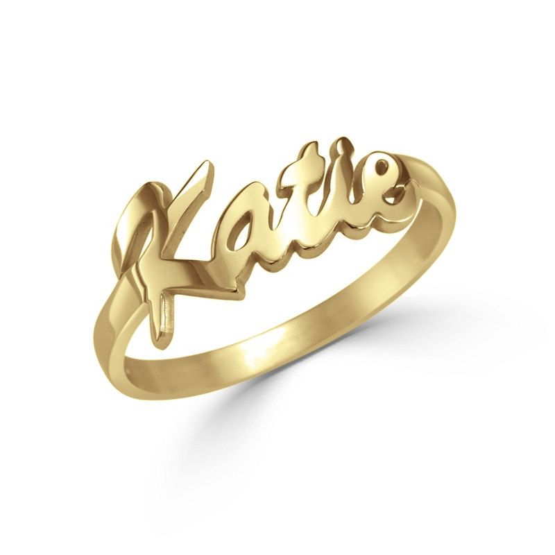 Alison and Ivy Gold Sterling Silver Name Ring