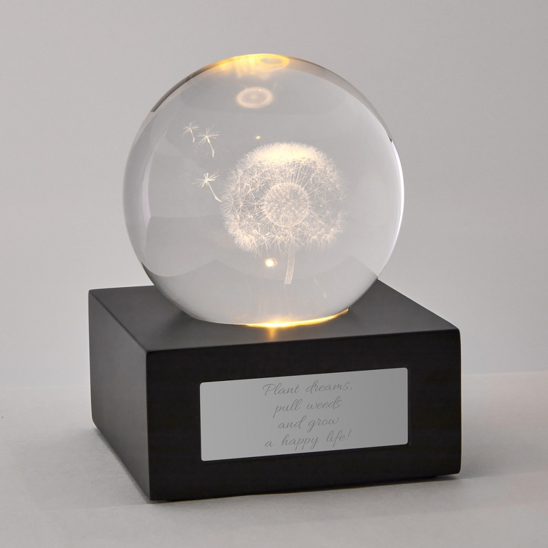 3D LED Dandelion Flower Personalized Glass Cube