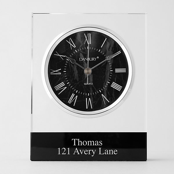 Personalized Glass and Faux Black Marble Display Clock