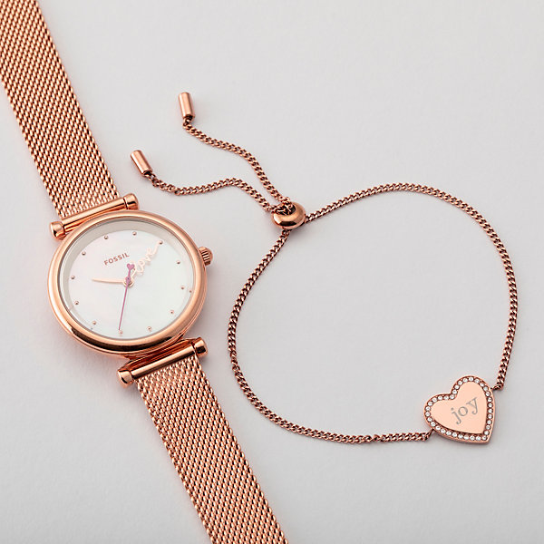 Fossil Womens Carlie Rose Gold Watch And Bracelet Set