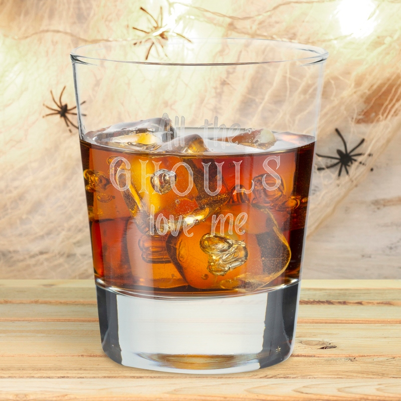 All the Ghouls Love Me Halloween Double Old Fashioned Glass