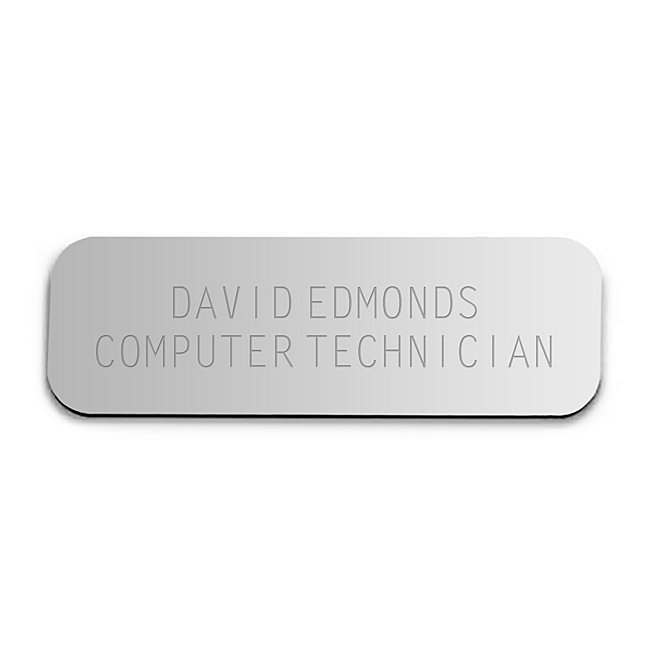 Purchase this sturdy engraveable name badge for your employees or service personnel to let your customers know who they're dealing with. Fastens with a pin located on the back of the badge.