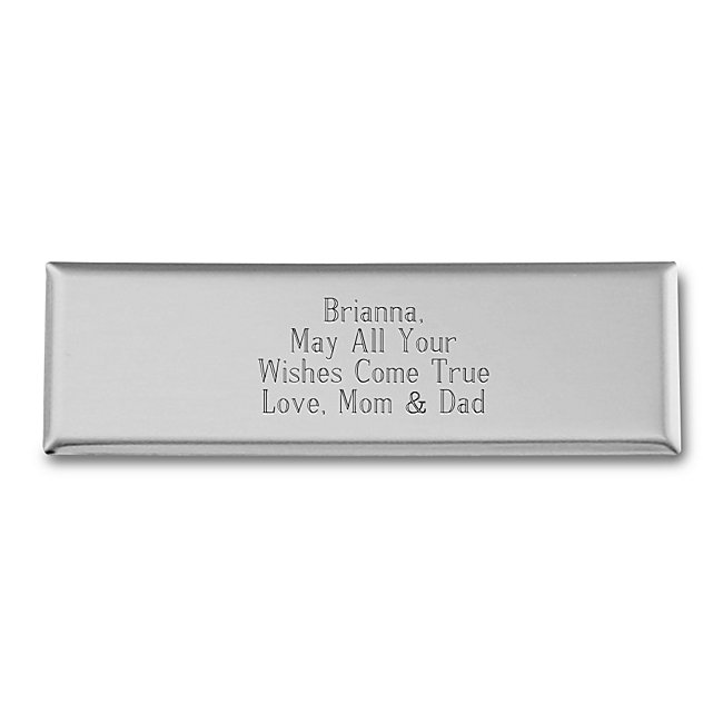 This shiny nickel silver plate is the perfect addition to any item you want to personalize for gift giving. It has plenty of space to engrave names, dates, or even a short sentiment.
