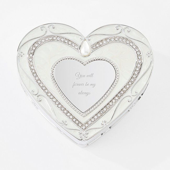 Personalized Regal Elegance Heart Keepsake Box with Crystals