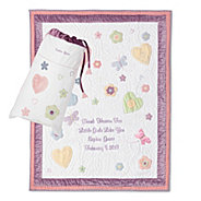 Personalized baby blankets quilts at things remembered butterflies and flowers quilt negle Images
