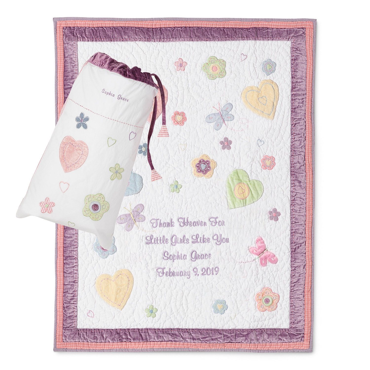 Personalized baby blankets quilts at things remembered butterflies and flowers quilt negle Gallery