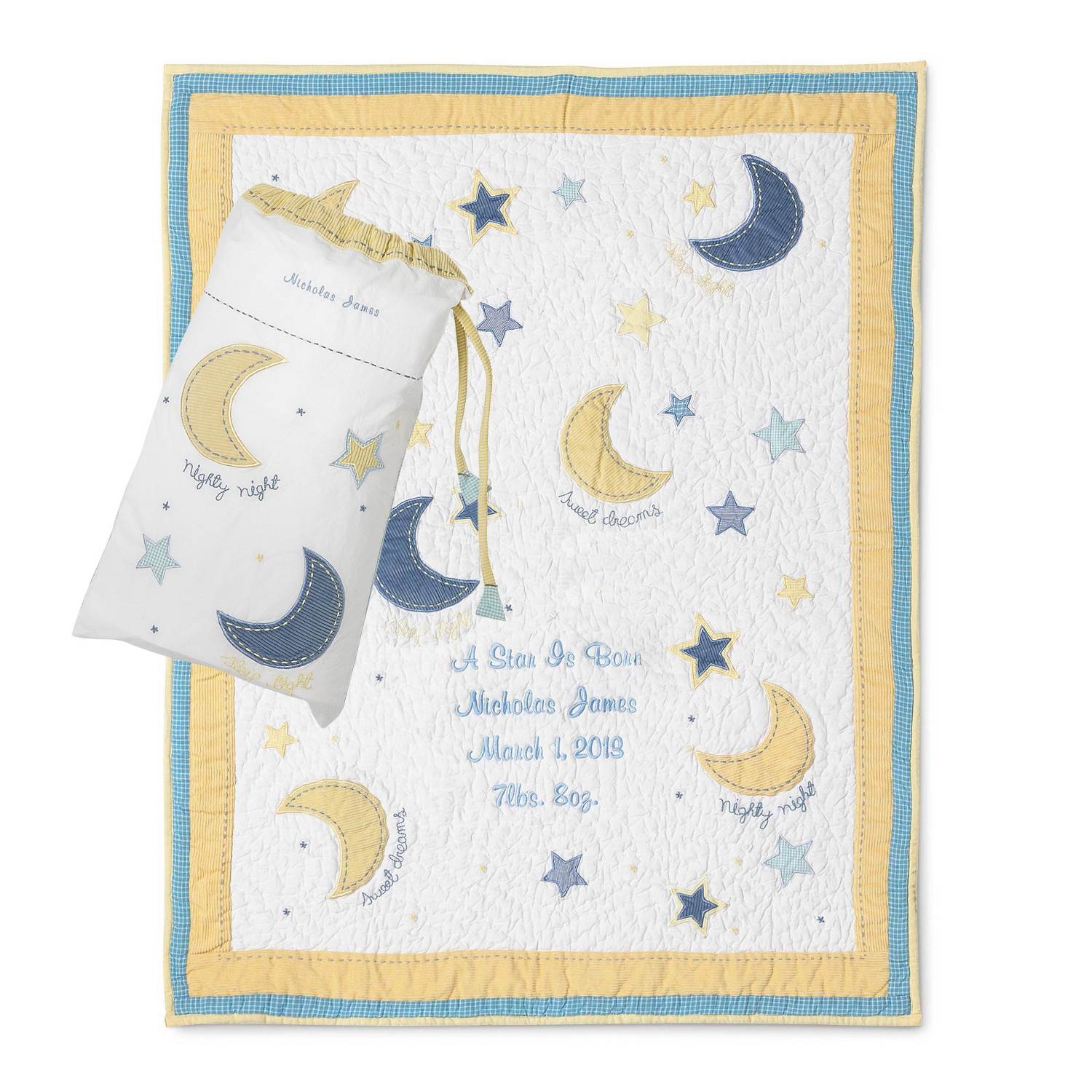 Personalized baby blankets quilts at things remembered moon and star quilt negle Choice Image