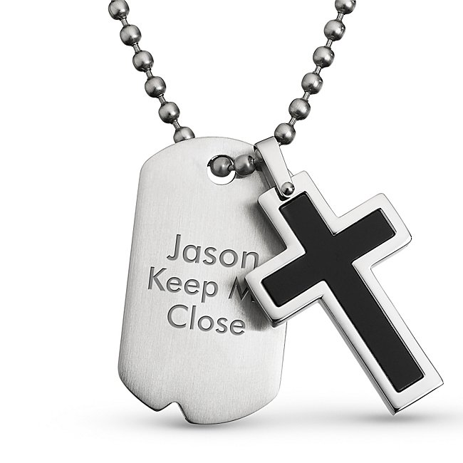 Black Cross Dog Tag Pendant- Vertical