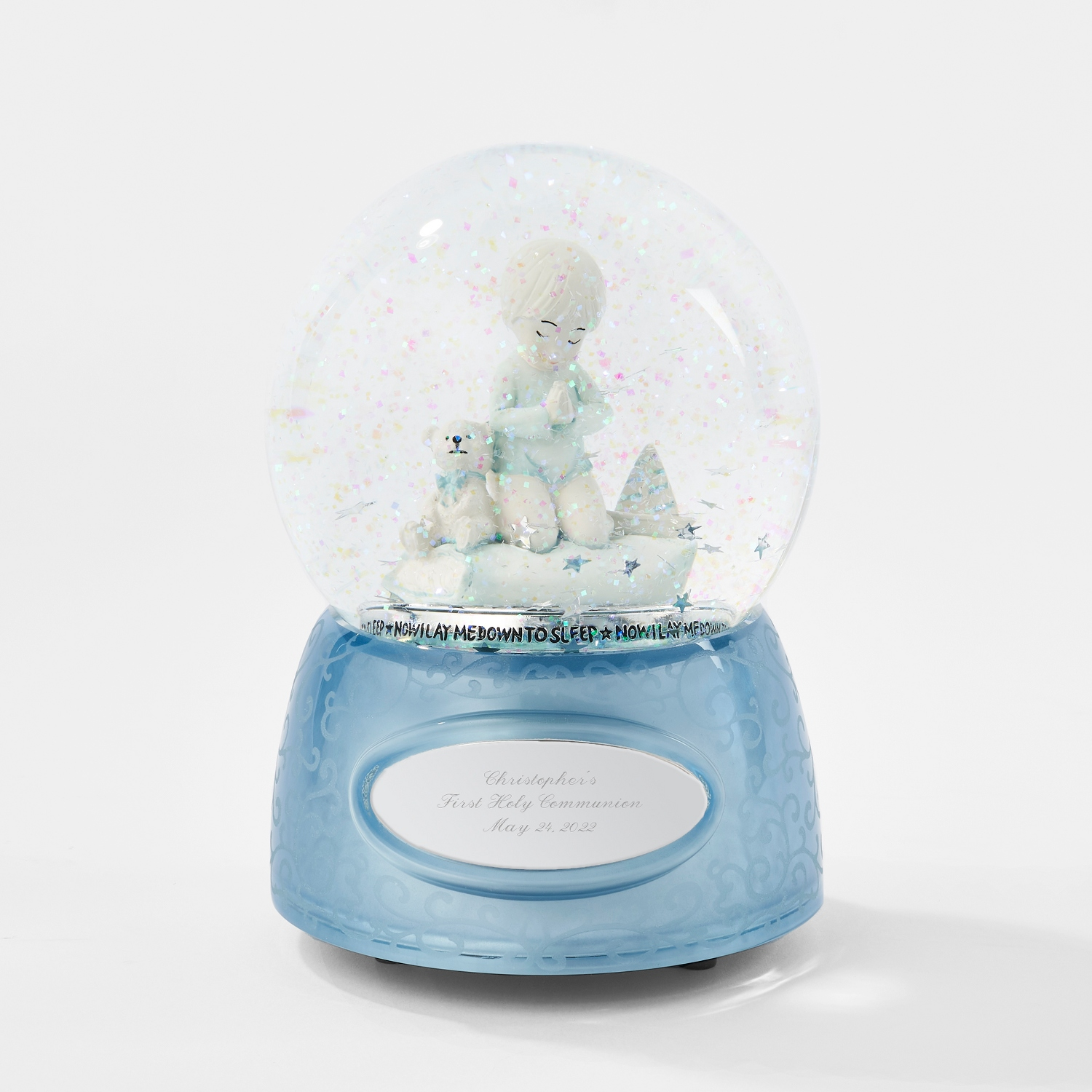 Personalized baptism christening gifts at things remembered praying boy musical snow globe negle Choice Image