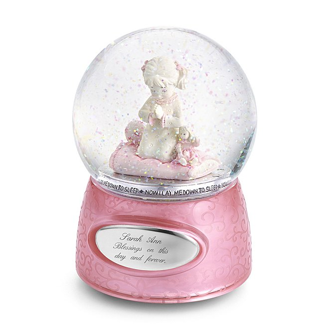 """Praying Girl Musical Snow Globe, Pink and White, Engravable Plaque, """"Plays The Lord is My Shepherd"""" - Personalized at Things Remembered"""