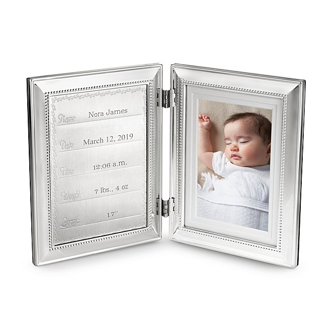 Personalized Hinged Birth Record Frame