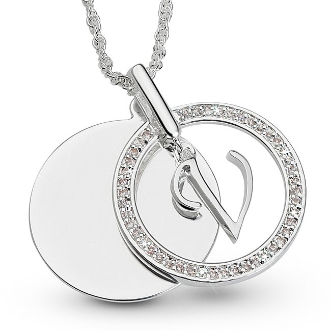Initial V Swing Necklace,...