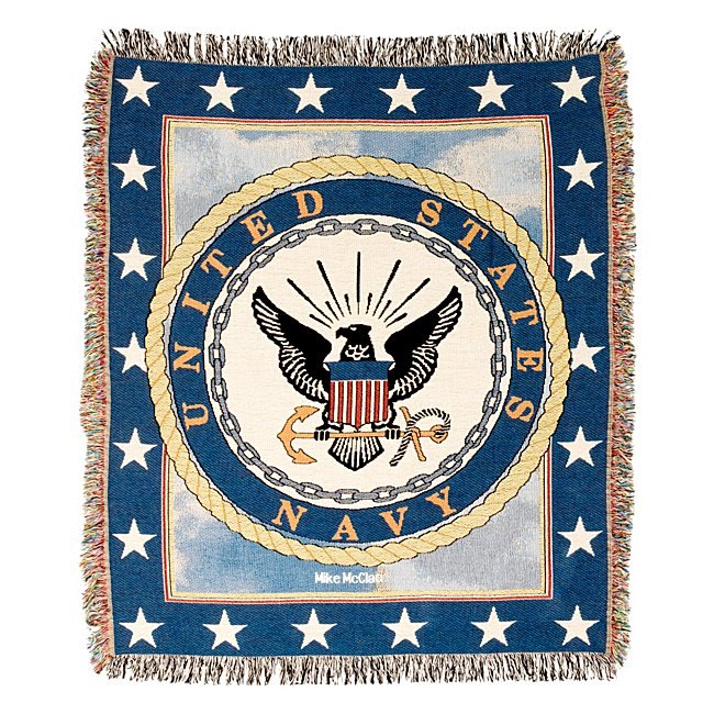 Personalized Navy Tapestry Throw