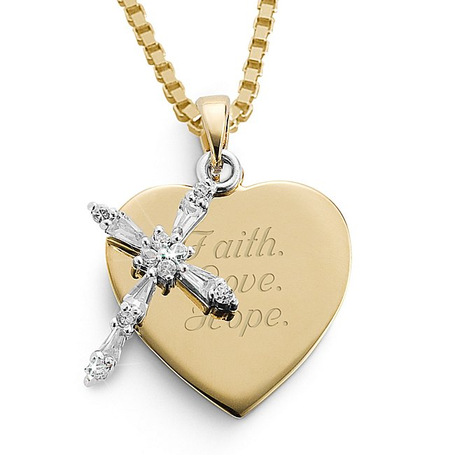 Personalized 14K Gold/Sterling CZ Cross Necklace with complimentary Filigree Keepsake Box by Things Remembered