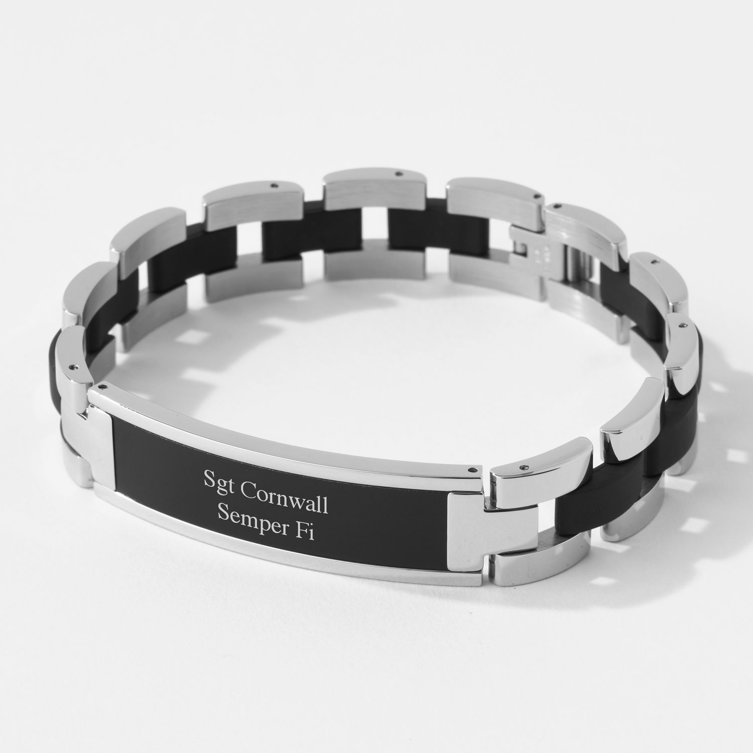 stainless personalised mens can leather bracelet id plaited be black inscribed steel adjustable