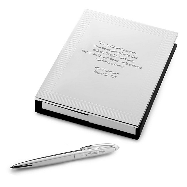 Journal with Pen, Silver, 7.16 in. x 4.8 in. x .79 in, 200 Pages, Engravable Journal Cover and Ballpoint Pen - Personalized at Things Remembered