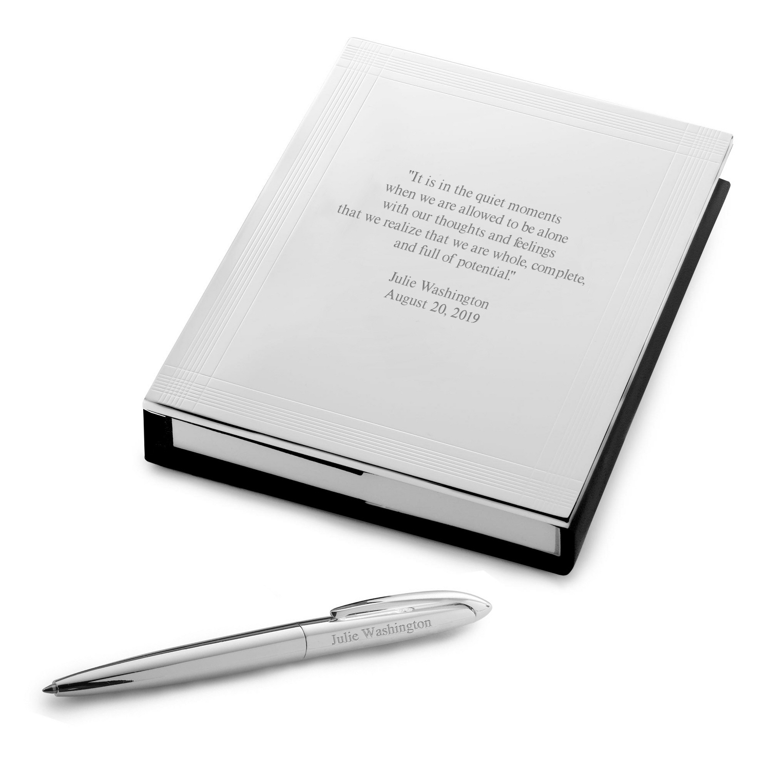 Silver Journal with Pen