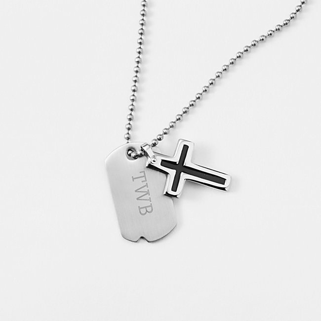 Boys Black Cross Dog Tag - Vertical With Complimentary Tritone Valet Box - For The Ringer Bearer - Wedding Gifts - Personalized At Things Remembered
