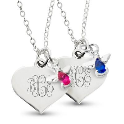 Girls Angel Birthstone Necklaces