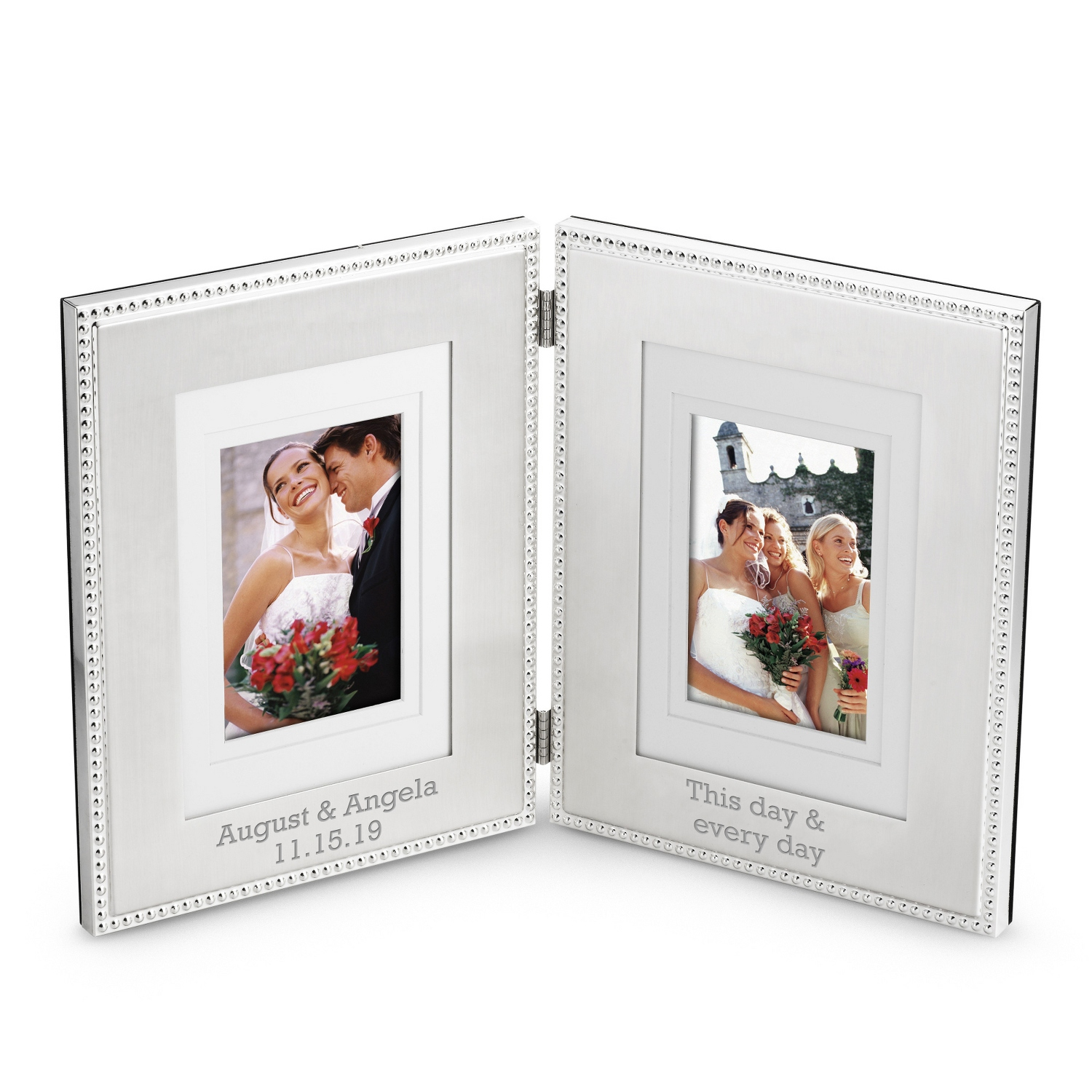Personalized picture frames at things remembered beaded double hinge frame jeuxipadfo Images