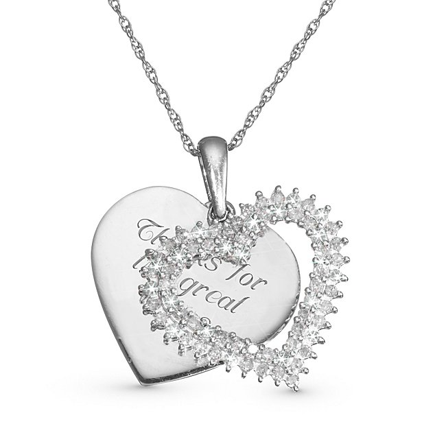 This diamond heart pendant has an elegant look, and it will become an heirloom when engraved with a message and a date. It comes with a Sterling Silver rope chain and a free keepsake box that is perfect for engraving that special message- Diamonds are IJ color, which means they are near colorless- Clarity for the diamonds are I2/I3- The 66 round-cut diamonds gives this piece a great, sparkling feel.