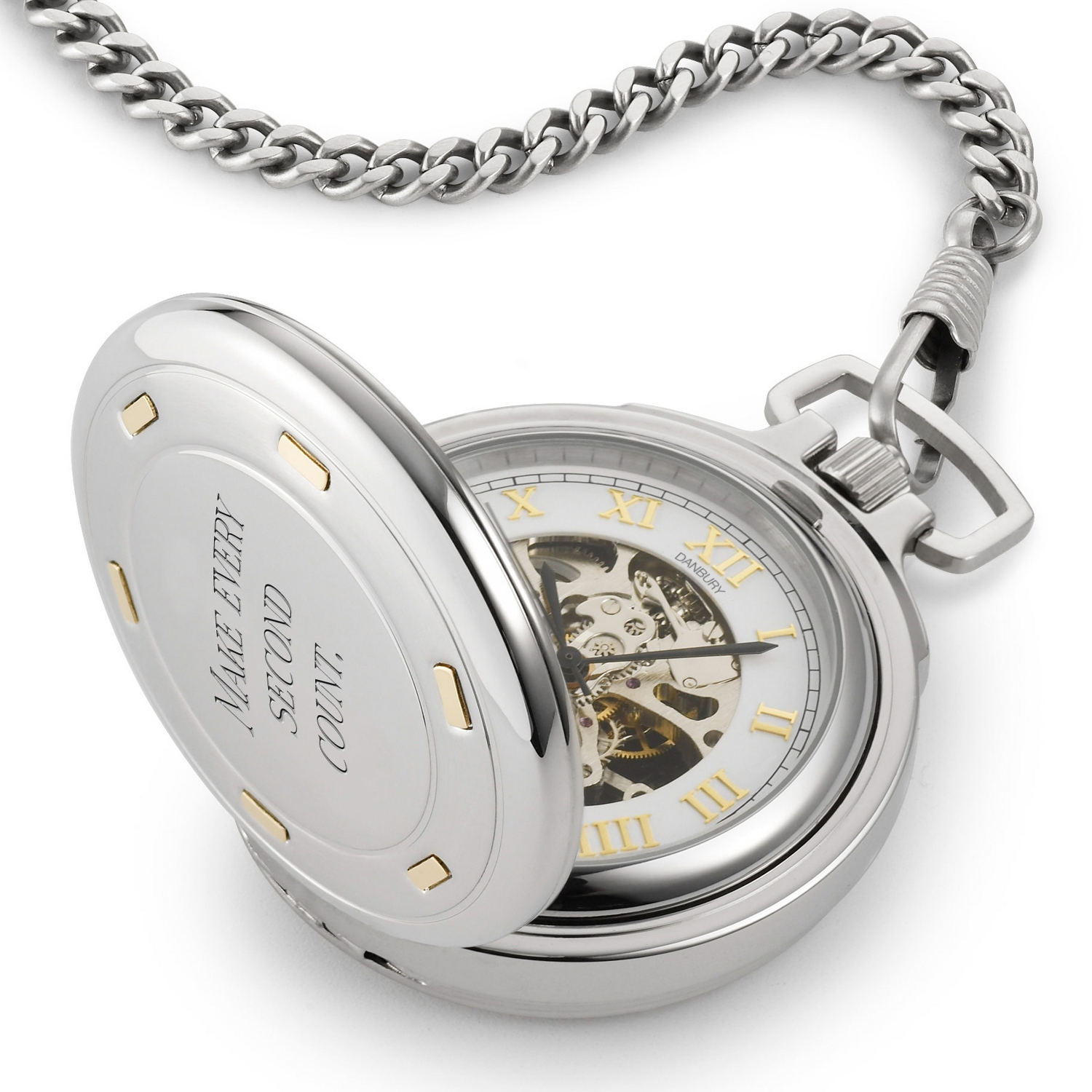 Engraved pocket watches at things remembered stainless steel skeleton pocket watch with 14k gold accents jeuxipadfo Image collections