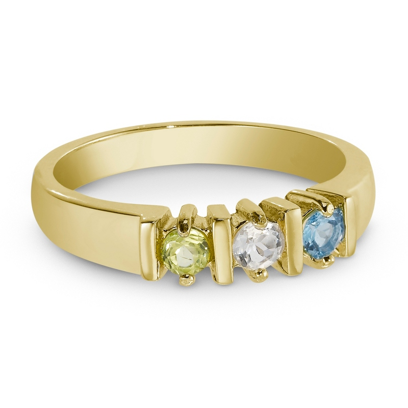 14K Gold and Silver Genuine 3 Birthstone Ring