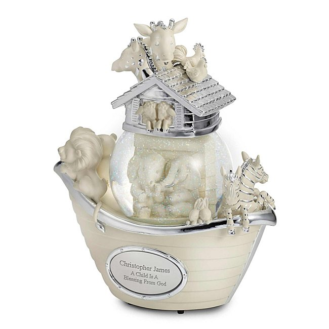 Personalized Noah's Ark Animal Musical Water Globe