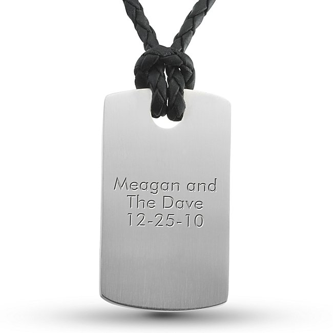 Stainless Steel and Leather Dog Tag- Vertical with complimentary TriTone Valet Box