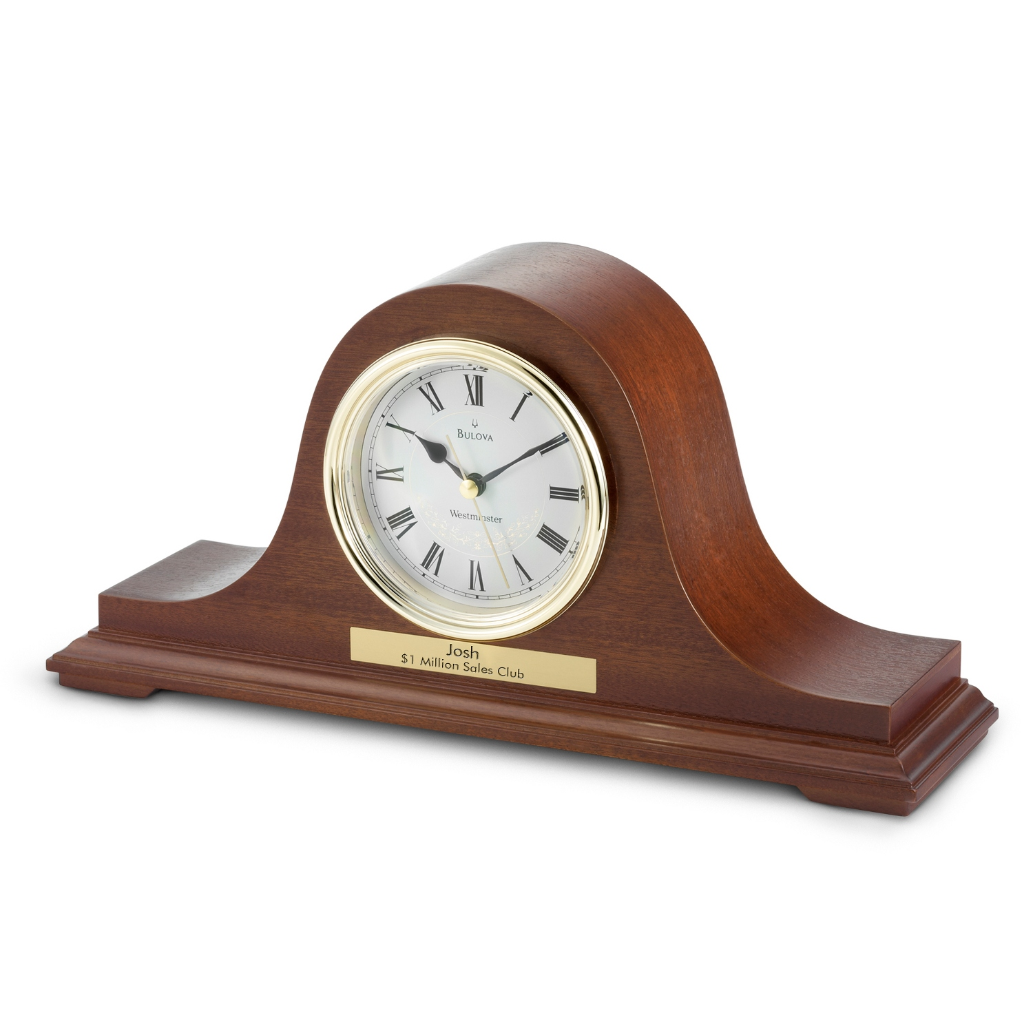 Personalized bulova clocks at things remembered bulova mahogany mantel clock jeuxipadfo Images
