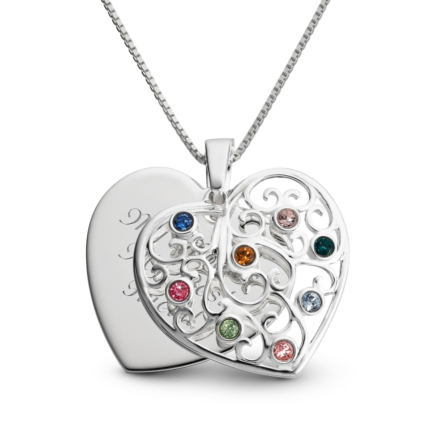 features mothers pin to with and birthstones outer birthstone names kids grandkid circle double necklace up the