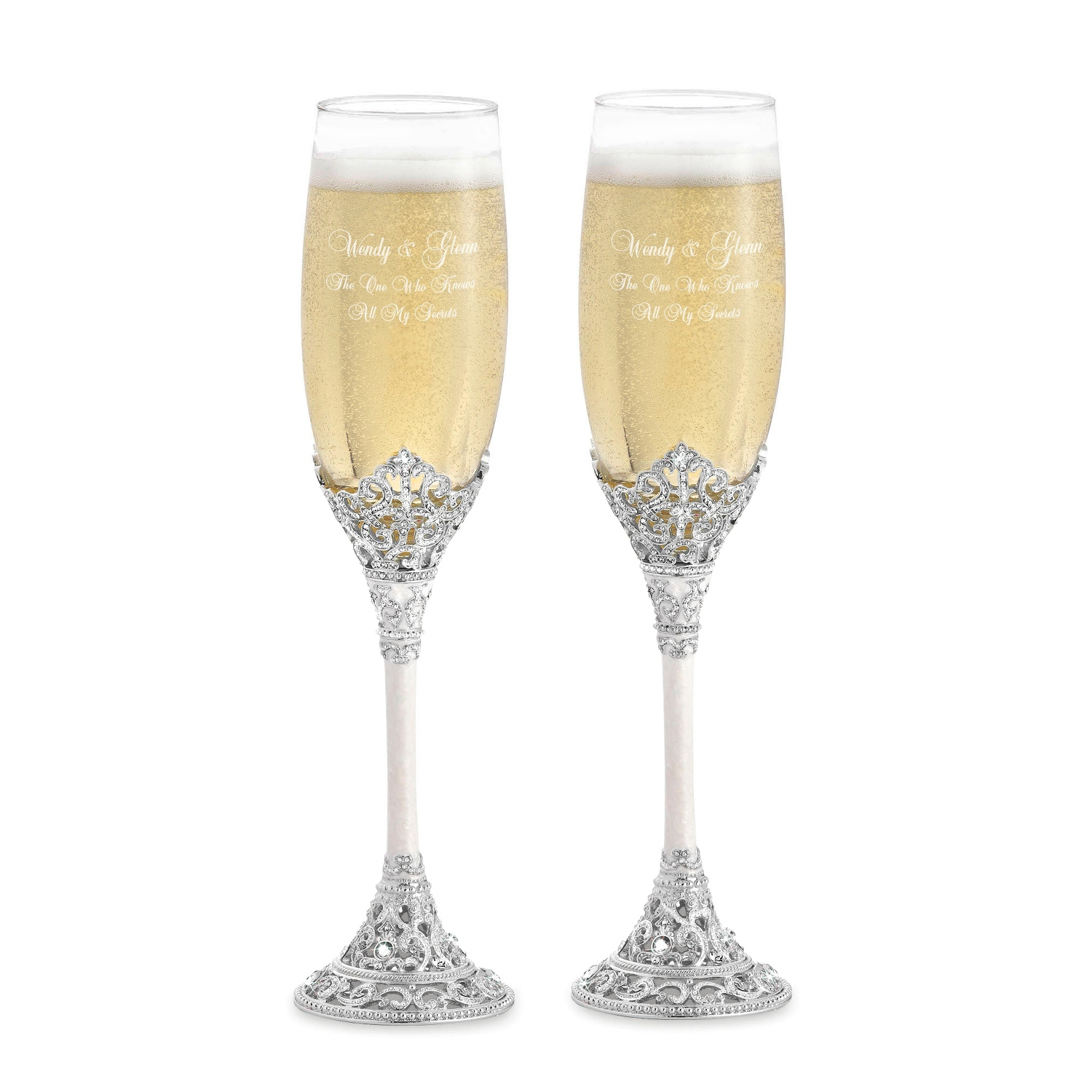 personalized toasting flutes at things remembered